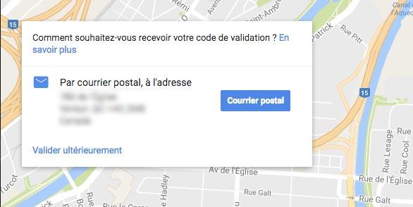 confirmation inscription google maps
