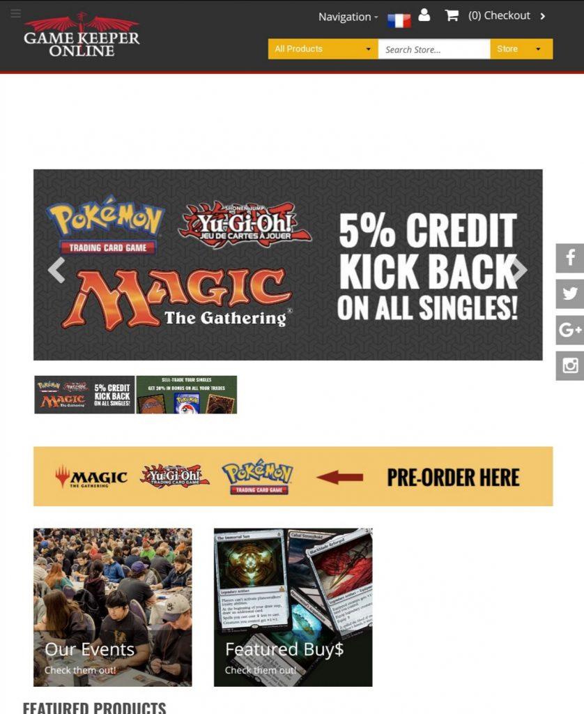 creation boutique en ligne game keeper mobile