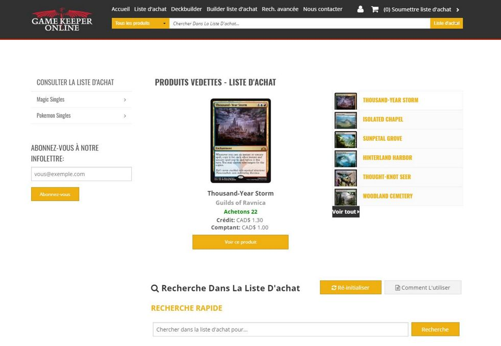 Refonte de la boutique en ligne de Game Keeper Online