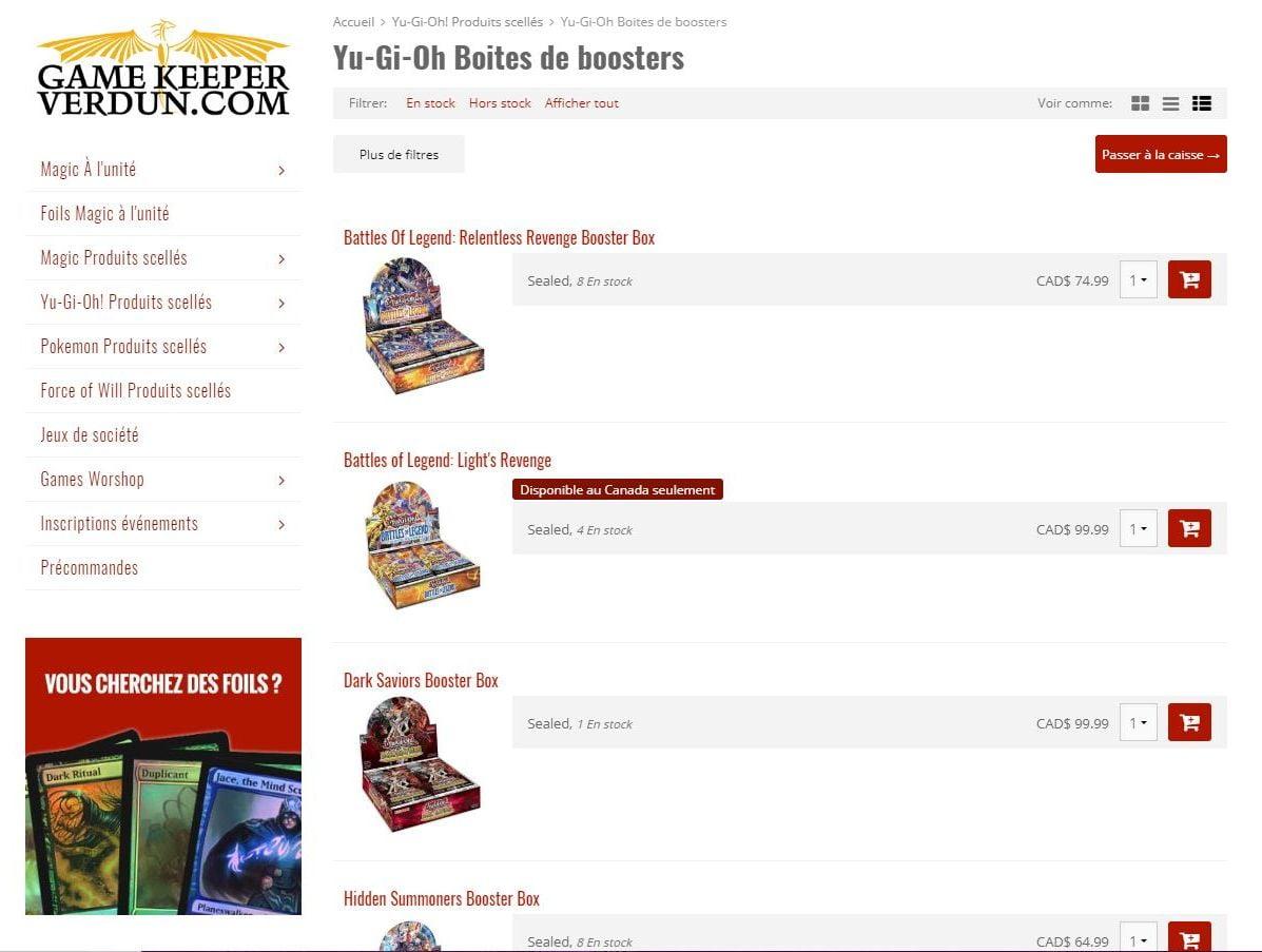 Création de la boutique en ligne de Game Keeper Verdun