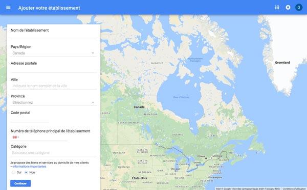Inscription à Google Mon Entreprise et Google Maps